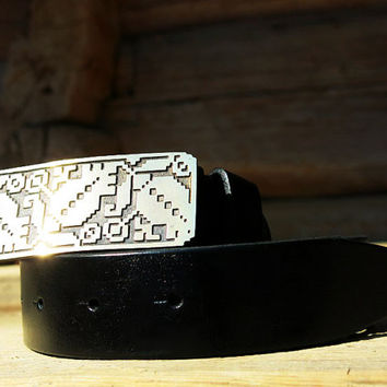 Real Mens Leather Belt With Unique Buckle Embriodered Pattern. Gift for Him. Mans Gift. Classic Black Belt by Three Snails. Free Shipping!