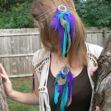 statement necklace peacock purple feather dreamcatcher necklace in native american inspired tribal boho belly dancer and hipster style