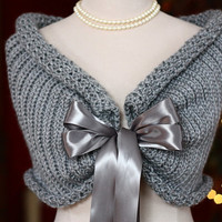 Wedding Shawl Bolero Shrug Bride Bridesmaid Mother of Bride or Groom Prom Flower Girl Holiday White Ivory Gray or Black with satin ribbon