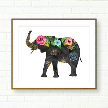 Elephant Print, Black, Floral, Boho, Watercolor Elephant, Bohemian, INSTANT DOWNLOAD, Modern Nursery, Office Decor, Silhouette, PRINTABLE