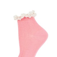 Pink Lace Trim Ankle Socks - Tights & Socks - Clothing - Topshop USA