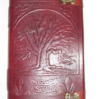Leather Journal Celtic Tree of Life Pure Genuine Leather Bound Blank Diary/Journal/Notebook/sketchbook with lock Customised Gift