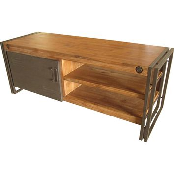 "Brooklyn 51"" TV Stand Distressed Solid Acacia Wood Metal (Small)"
