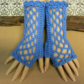 Blue Fingerless Gloves, Womens Lace Knitted Gothic or Burlesque Wool Gloves, Australia, Nchanted Gift