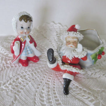Vintage Christmas Figurines, Sitting Santa Figurine, Napco 5637B, Spaghetti Santa, Waving Santa, Hand Painted Christmas Decor