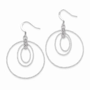 Sterling Silver Textured Oval and Circle Post Dangle Earrings