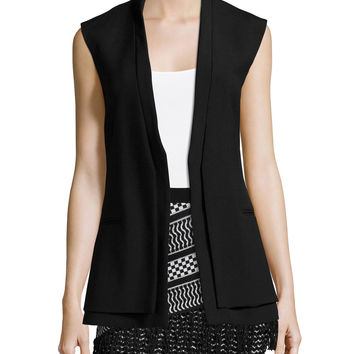 Eddie Long Sleeveless Jacket, Black, Size: