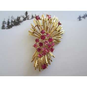 Lisner Golden Brooch Pink Crystals Signed Copyrighted