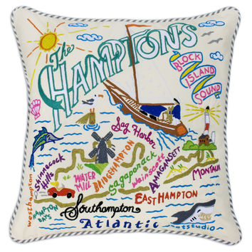 Hamptons Hand Embroidered Pillow