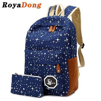 Stars Printing Backpack Set