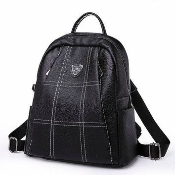 University College Backpack Fasion PU Leather s For Girls Zipper Plaid  Female  Back pack to School Notebooks Laptop Bag For TravelAT_63_4