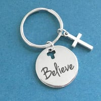 Believe, Believe in god, Cross, Keyring, Key chain, Birthday, Lovers, Friends, Housewarming, Gift, Jewelry, Accessory