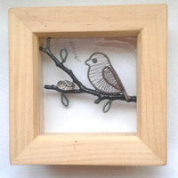 Sparrow Shadowbox Frame, Art Shadow Frame Decoration, Handmade Wire Wrapped Black Purple Dragonfly Wall Art, Unique Home Gift Idea