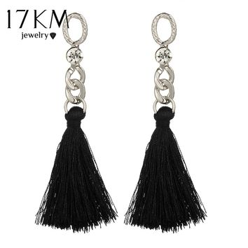 17KM 2 Color Chandelier Tassel Drop Earrings Vintage Long Crystal Dangle Earring Bijoux Female Bohemian Jewelry for Women Brinco