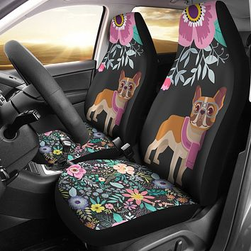 Floral French Bulldog Car Seat Covers