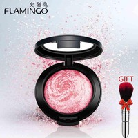Beauty Face Makeup Brand FLAMINGO Blusher with brush mirror cheek silky felt blusher 3 colors Baked Blush Bronzer Blusher 3010x
