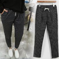 2016 large size women  pants female big yards elastic casual harem pants plaid lady broeken for travel through out the play