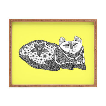 Romi Vega Cat Yellow Rectangular Tray