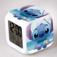 Cartoon Lilo & Stitch LED 7 Color Flash Digital Alarm Clocks Kids Night Light Clock reloj despertador