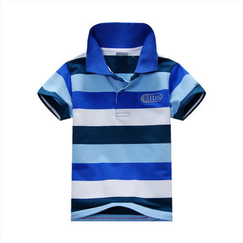 Summer Fashion Style Kids Baby Boys Cotton Striped T-shirt Multi Color Short Sleeve Top Size S-XXL