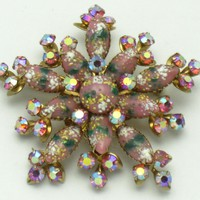 Vintage Signed CATHE Easter Egg Rhinestone Snowflake Brooch