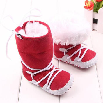2015 Lovely Baby Boys Girls Winter Warm Booties Infant Soft Slipper Crib shoes Sewing Cross-tied  Flats Boot Free Shipping