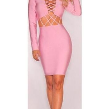 All About Me Pink Long Sleeve Cut Out Waist Crisscross V Neck Bodycon Bandage Midi Dress