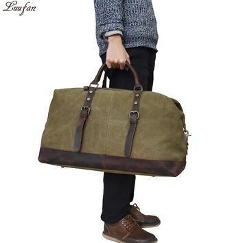 Canvas leather travel bags men women big capacity travel duffel durable laptop shoulder crossbody bag business work tote men bag