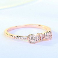 Womens Cute Bow Knot Design Engagement Ring
