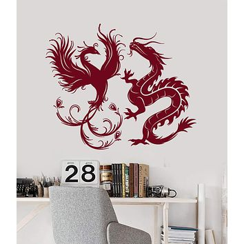 Vinyl Wall Decal Dragon Phoenix Bird Fantasy Asian Style Stickers Murals Unique Gift (ig4887)