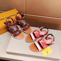 LV Louis Vuitton Women's Leather Formentera Sandals