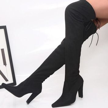 New Black Point Toe Chunky Cross Strap Fashion Over-The-Knee Boots