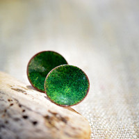 Enamel stud earrings - round post earrings - small green earrings - enamel jewelry by Alery