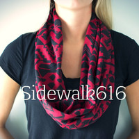Red and Black Tribal Knit Infinity Scarf