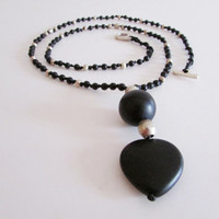 Long Black Onyx Rosary Necklace, Dainty Heart Shaped Gems Beaded Delicate Boho Jewelry
