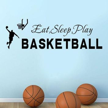 ONETOW wall stickers for kids rooms Sleep Play Basketball Quotes Wall Sticker Decal Home Boys Room Decoration