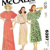 McCall's 70s Sewing Pattern Disco Dance Party Dress Boho Hippie Style Butterfly Sleeves Loose Fit Drawstring Keyhole Neck Uncut Bust 42