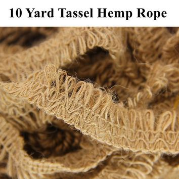 Rustic Jute Tassel Hemp Rope Braid Handmade Crafts Burlap Bottles Wraps Wedding Party Table DIY Decoration 10 Yard 1 Roll
