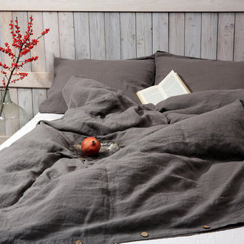 Linen duvet cover in graphite / dark gray color. Stonewashed and soft flax. Hand made by LinenSky.