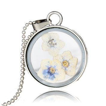 New Fashion 3D Dried Flower Round Glass Pendant Necklace Women Jewelry Gift Box