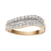 1/2 Carat T.W. Diamond 10k Gold Wavy Ring (White)