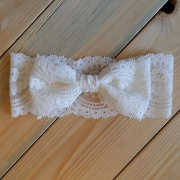 Lace Bow Headwrap - Off White Stretch Lace Bow Headband