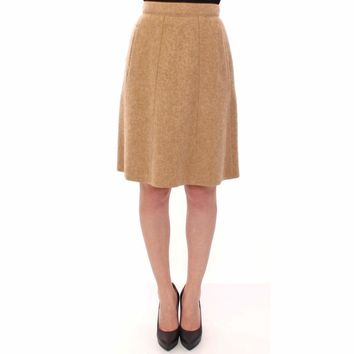 Dolce & Gabbana Beige Alpaca Above Knees Pencil Skirt