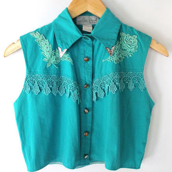 Vintage 80s Teal Lace and Silver Western Cropped Top with Collar Points // Small