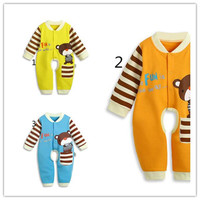 Baby Bodysuit Boy New Baby Spring Long Sleeve and Open Fork Bodysuits Fashion Infant Round Collar and Stripes Elastic Baby Clothes