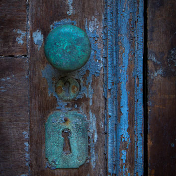 Old Rusted Teal Turquoise Baby Blue Door Knob Lock Vintage Antique Rustic Home Decor Art Print Door Photography Jersey City Art Print