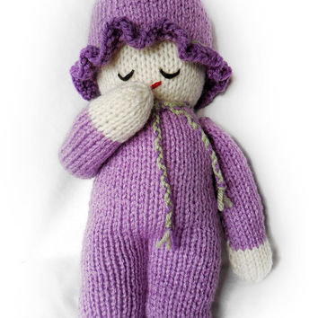 Baby Doll, Handmade knitted Doll, Purple Baby Doll, Knit Dolls, Handmade Gifts, Small Doll, Little Girl Gifts, Handmade Dolls, Knitted Items