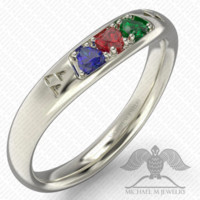 3 HEARTS MATCHING GREEN BLUE RED STONES WEDDING BAND FOR ZELDA RING CUSTOMMADE HANDMADE ***MADE TO ORDER – 104
