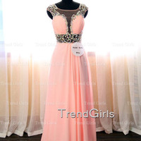 Pink Chiffon A-line Long Prom Dresses, Evening Dresses, Prom Dresses 2014, Pink Prom Dresses, Formal Dresses