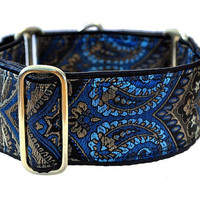 Brocade Tapestry Martingale Collar (2 Inch), Greyhound Collar, Whippet Collar, Custom Dog Collar, Custom Martingale